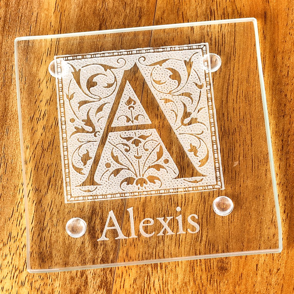 Laser marked glass coasters