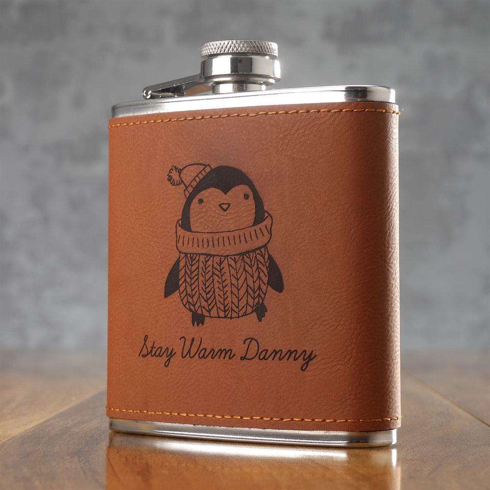 Personalised 6oz Leather Hip Flasks