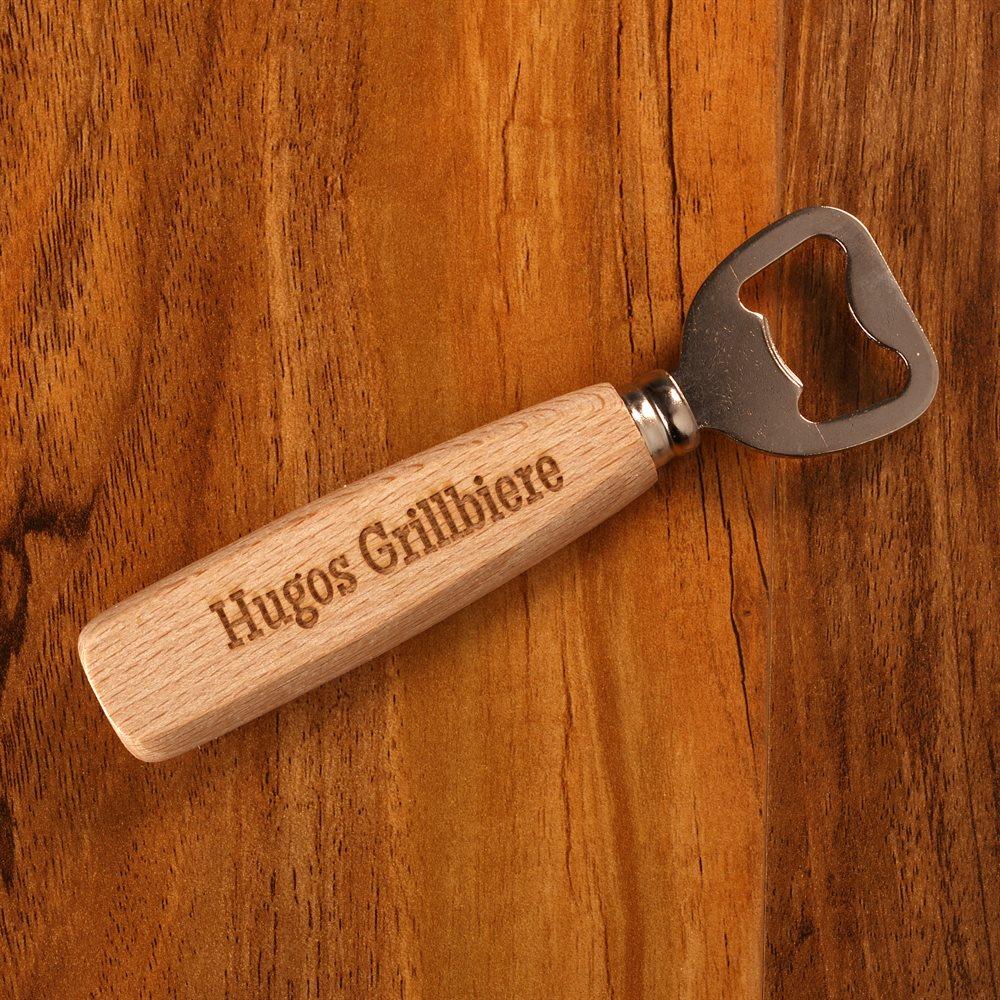 Personalisierter Flaschenöffner mit Holzgriff
