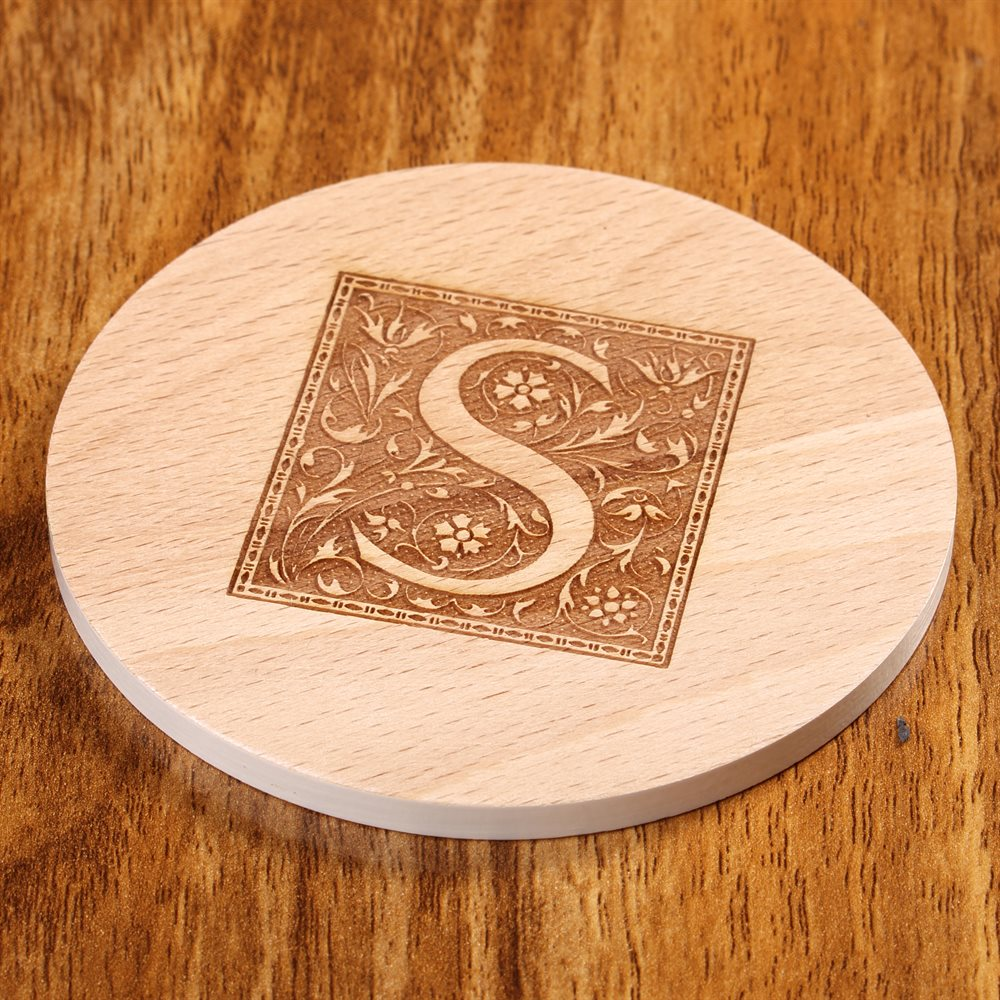 Personalisierte gravierte runde Holzuntersetzer