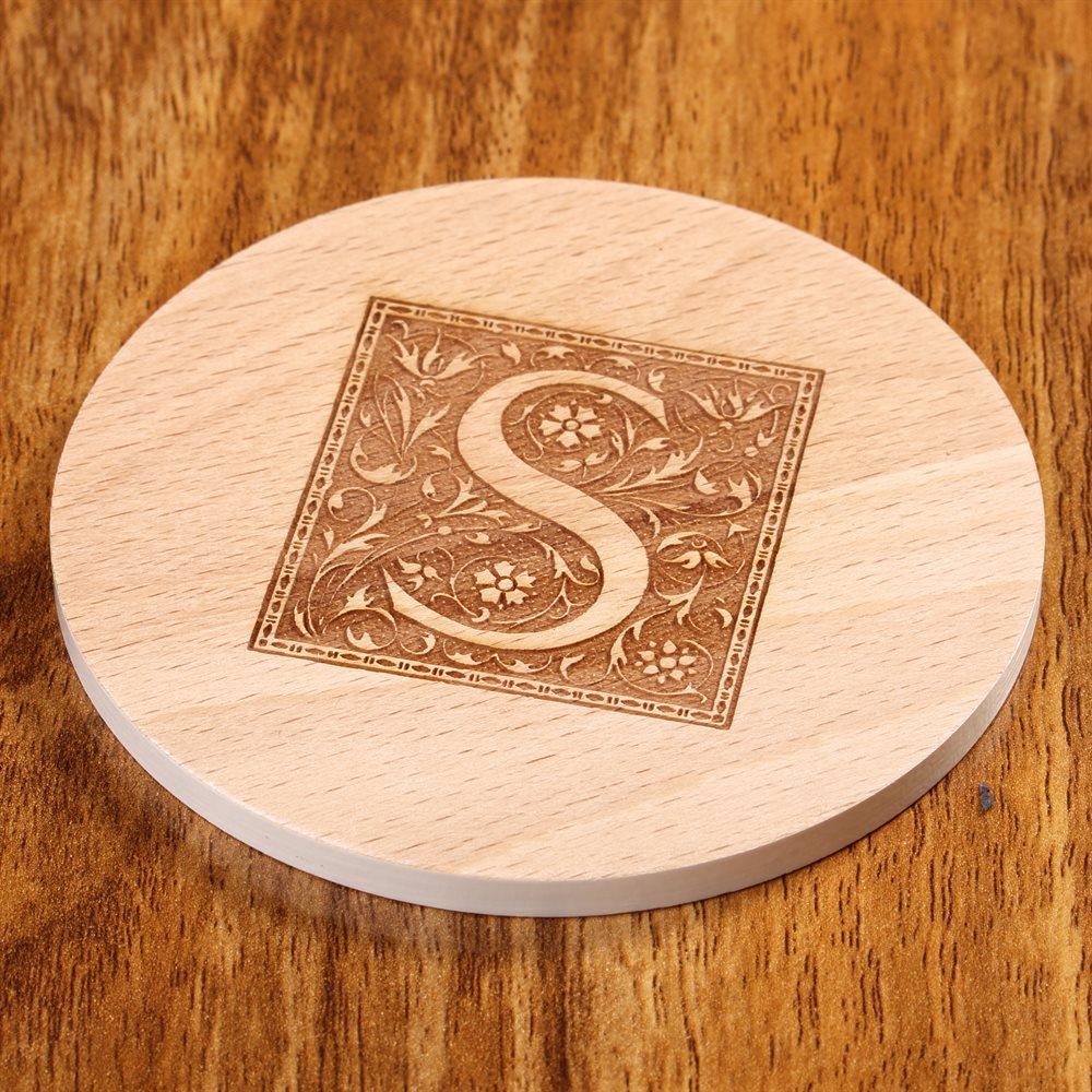 Personalised engraved round wood coasters